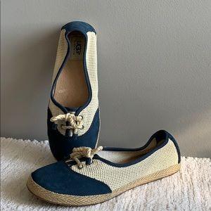 UGG Blue Suede Boat Shoe Loafer Flat Size 8.5